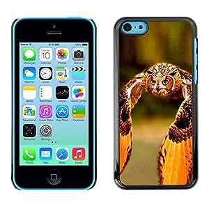 PC/Aluminum Funda Carcasa protectora para Apple Iphone 5C owl flight orange wings feathers summer / JUSTGO PHONE PROTECTOR