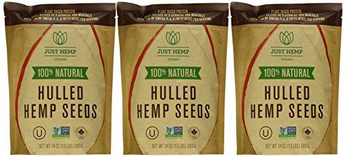 Just Hemp Foods, 100% Natural Hulled Hemp Seeds, Multi-pack (3 X 24 Oz. (4.5lb))