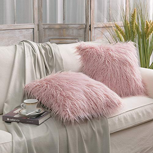 Phantoscope Set of 2 Decorative New Luxury Series Merino Style Pink Fur Throw Pillow Case Cushion Cover 18