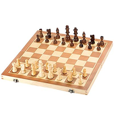 "Tosnail 15"" Wooden Chess Set with Felted Interior for Storage - Great Fun Board Games"