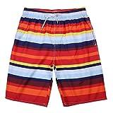 Kstare Men's Colortful Striped Swim Trunks Beach Board Shorts Swimming Watershort Quick Dry Beachwear Summer Sportwear Red