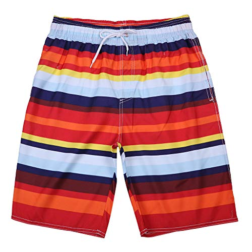 (JJLIKER Men's Quick Dry Swim Trunks Colorful Stripe Beach Shorts Beach Drawstring Elastic Waist Watershort and Pockets Red)