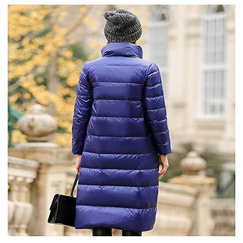 Giù Chiaro Donna Piuma Blue black l Lungo Integrale Portatile Lunga Solido Femminile Piumino Soprabito Parka Da Cappuccio Invernale Giacca Ultra xSFWqgxf6w