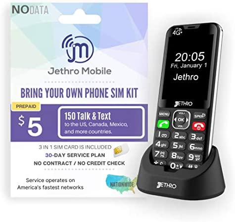 Jethro [SC490] 4G/LTE Unlocked Bar Style Cell Phone for Seniors and Kids with 30 Days Plan, Large Screen & Big Buttons, Hearing Aid Compatible, Charging Dock, FCC & IC Certified. WeeklyReviewer