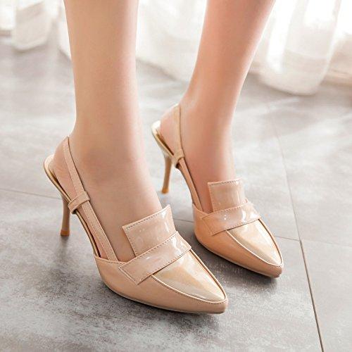 tacón de profundas sandalias alto de poco nuevo tacón de baotou sandalias zapatos apricot ZHZNVX Verano zapatos con sandalias mujer casual 4paqvR1v