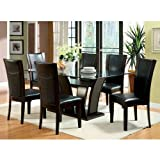 Glass Top Dining Table Manhattan Dark Cherry Finish Glass Top Dining 7-Piece Table Set