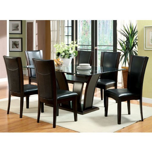 Manhattan Dark Cherry Finish Glass Top 5-Piece Dark Espresso Upholstery Dining Table Set