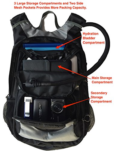 Sports Imagery Hydration Pack Premium Backpack Daypack with 3.0L(100oz) Water Bladder.3 Large Storage Compartment Rucksack For Hiking Running Cycling Climbing Skiing For Men,Women, Kids