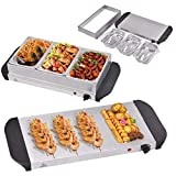 Giantex 3 Tray Buffet Server Stainless Steel Hot Plate Food Warmer Chafing Dish Tabletop (1.5 Quart)