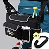 CELEMOON Stroller Organizer Bag - Premium Quality Stroller Fits All Baby Strollers - BONUS Handy Stroller Hook, Black