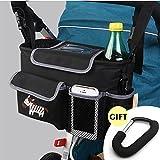 CELEMOON Stroller Organizer Bag - Premium Quality Stroller Fits All Baby Strollers - BONUS Handy Stroller Hook - Black