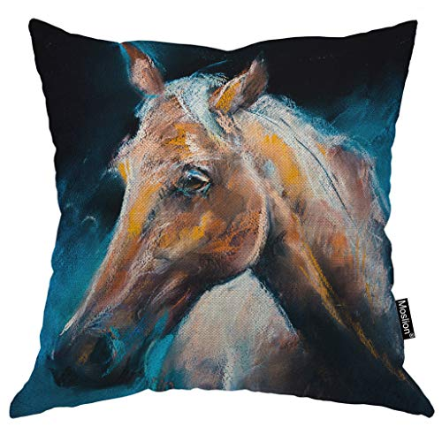(Moslion Horse Pillows Watercolor Painting Wild Animals Brown Horses Head Throw Pillow Cover Decorative Pillow Case Square Cushion Accent Cotton Linen Home 18x18)