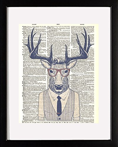 Ombura Hipster Deer - Deer in Vest and Glasses Dictionary Wall Art Print. 8x10 Home Wall Décor. Ideal, Unique Artwork for Men, Women and Teens for Any Animal Art Lover. Frame Not Incl. by Ombura