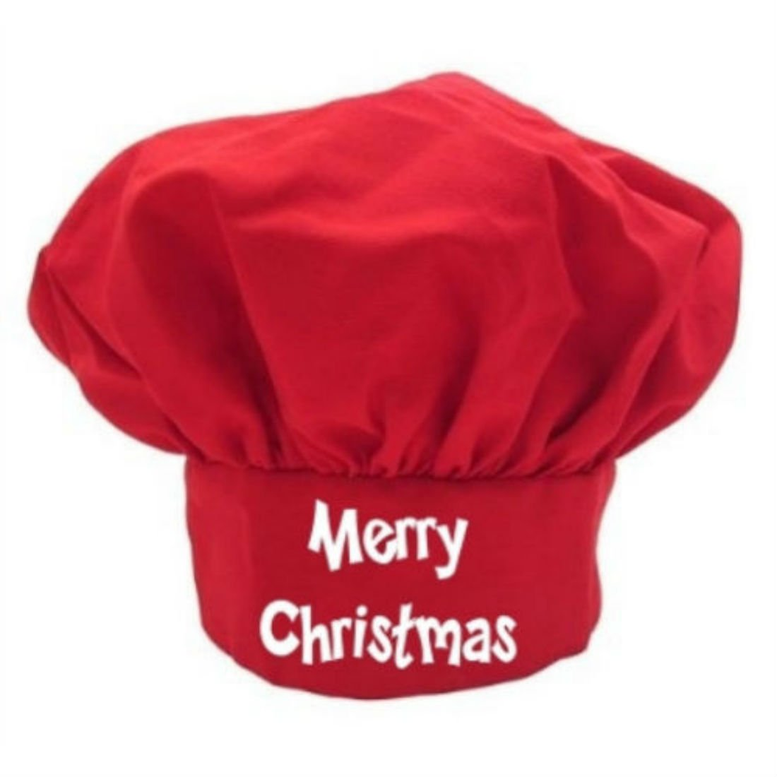 Merry Christmas Red Chef Hat | Red Holiday Toques by Unknown