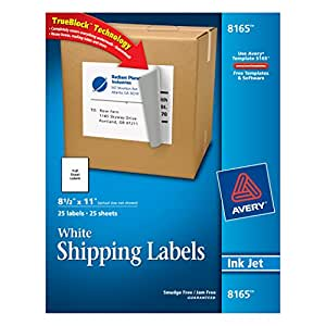 Avery White Full-Sheet Labels for Inkjet Printers with  TrueBlock Technology, 8 1/2 Inch x 11 Inch, Pack of 25 (8165)