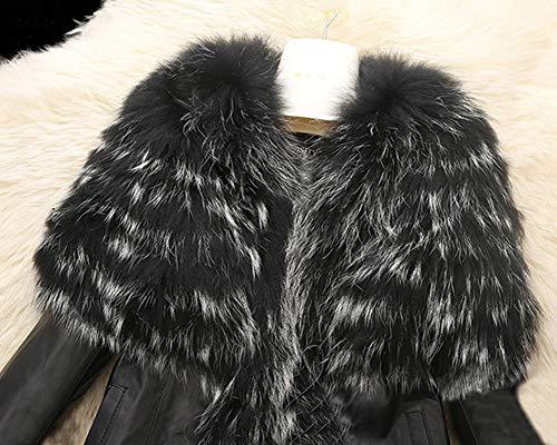 Manteau Runyue Chaude Femme Outwear pour en en Fausse Cuir Veste Noir Hiver Parka PU Fourrure f047r0xUwn
