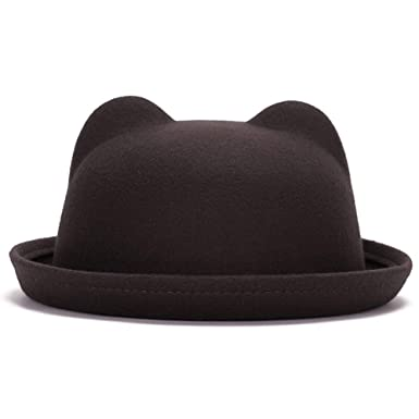 1ac54b86642 ChenXi Shop Women s Candy Color Wool Rool up Bowler Derby Cap Cat Ear Hat   Amazon.co.uk  Clothing