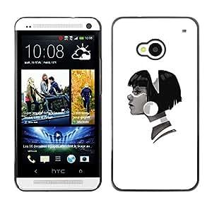 TopCaseStore / la caja del caucho duro de la cubierta de protección de la piel - Profile Portrait Girl Big Earring Fashion Art - HTC One M7