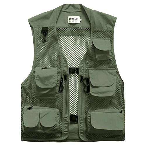 Lieshezhe Men Mesh Breathable Multi-Pocket Vest Outdoor Travelers Fly Fishing Photography (Green, XXL)