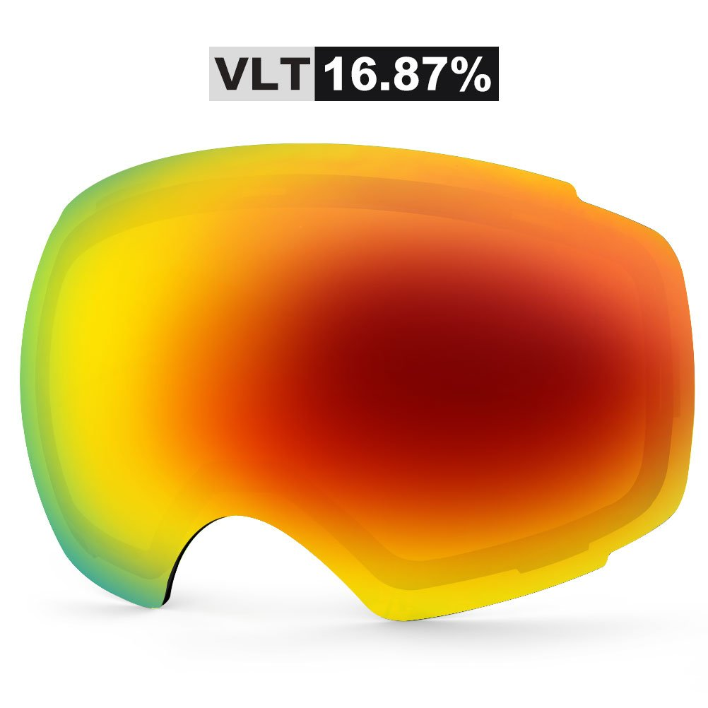 ZIONOR Lagopus X4 Ski Snowboard Snow Goggles Replacement Lenses (VLT 16.87% Grey Revo Red Lens) by Zionor