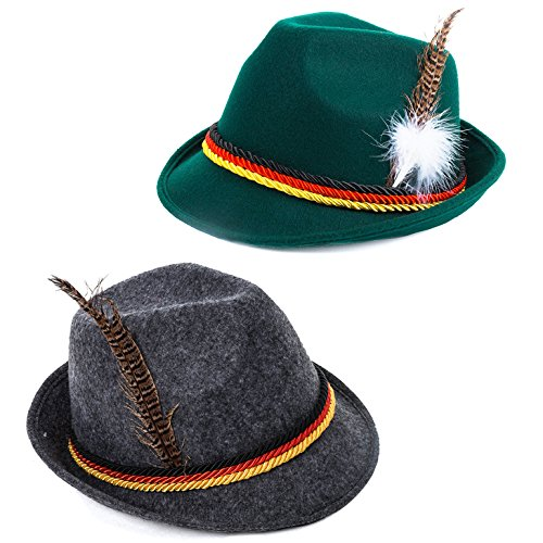 Tigerdoe Oktoberfest Hats - German Alpine Hat - Bavarian Hat with Feather (2 Pack) ()