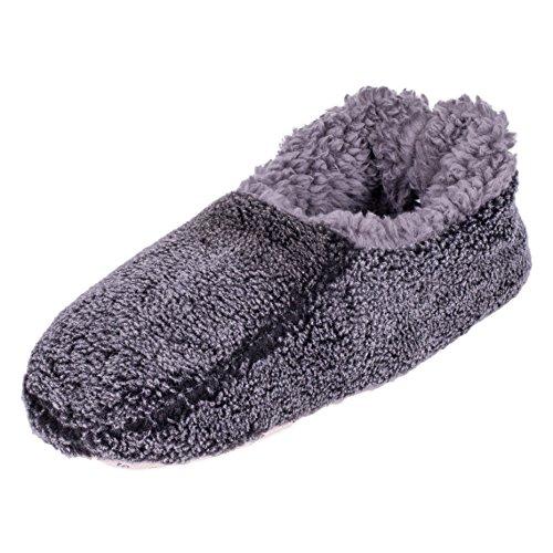 Snoozies Mens Two Tone Fleece Lined Non-Skid Slipper Socks - Black, Small