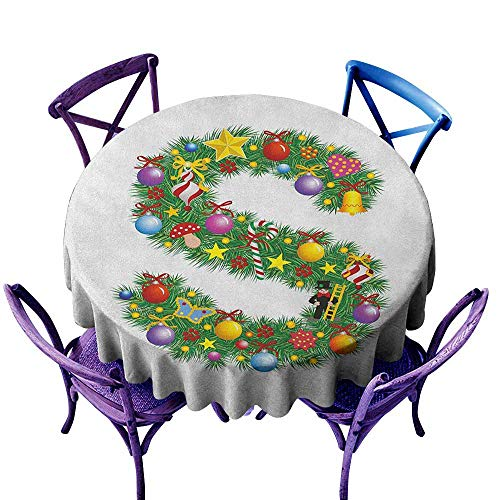 ONECUTE Stain Resistant Round Tablecloth,Letter S Pine Design Letter S Christmas Ornaments Colorful Balls Stars Multicolored Pattern,High-end Durable Creative Home,63 INCH Multicolor