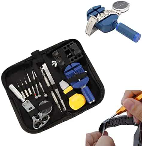 BABAN 13 Pcs Portable Watchmaker Watch Repair Tools Kit Set, Watch Band Holder Back Case Wrench Opener Link Pin Remover Repair Tool Kit