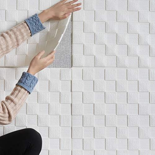 [スポンサー プロダクト]RAIN QUEEN クッションシート 壁紙シール 防音シート 防水 壁紙 断熱 クッションブリック 部屋 壁 貼る のり付き おしゃれ 北欧 3D 立体 リビング 寝室 キッチン 洗面所 トイレ 発泡スチロール 70cm×70cm大判 白 クッションシート10枚セット