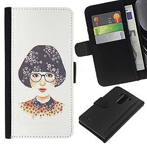 All Phone Most Case / Oferta Especial Cáscara Funda de cuero Monedero Cubierta de proteccion Caso / Wallet Case for LG G3 // Girl Glasses White Nerd