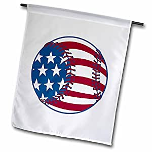 3dRose fl_116336_1 USA Stars and Stripes Baseball American Sports Design Garden Flag, 12 by 18-Inch