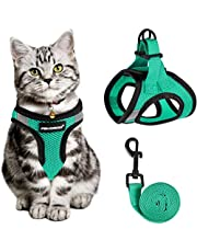 Cat Harness and Leash for Walking Escape Proof, Adjustable Cat Leash and Harness Set, Lifetime Replacement, Lightweight Kitten Harness, Easy Control Breathable Step-in Cat Vest with Reflective Strip(Green)