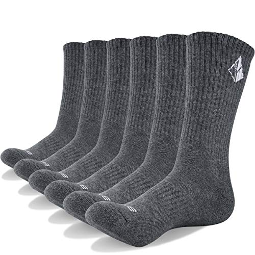 YUEDGE Men's Cotton Moisture Wicking Extra Heavy Cushion Sport Hiking Working Crew Casual Socks 6 Pair - Heavy Cushion Sock