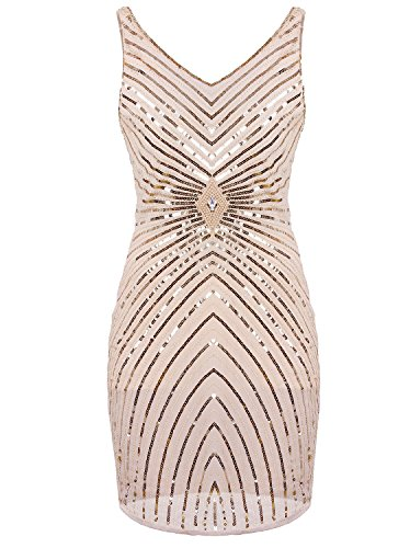 Vijiv Women's 1920s V-Neck Art Deco Sequin Beaded Tank Cocktail Flapper Dress Beige -