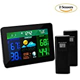 Wireless Weather Station, Indoor Outdoor Thermometer Weather Color Forecast Station with 2 Sensors, Home Weather Station with Temperature, Humidity, Barometer, Calendar