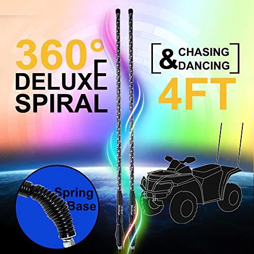 NF NIGHTFIRE 4FT Deluxe 360° Spiral Chasing Dancing Lighted Whip LED Antenna Light Whips for ATV Safety Flag Light UTV LED Whip for Polaris RZR Sand Dune Buggy Boat Quad w/Controller (47 Inch / 2 pcs)