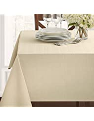"Benson Mills Textured Fabric Tablecloth, Flax, 60"" x 104"" Rectangular"