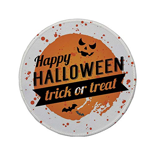 (Non-Slip Rubber Round Mouse Pad,Halloween,Happy Halloween Trick or Treat Watercolor Stains Drops Pumpkin Face Bats,Orange Black)