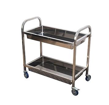 Carros de servicio almacenamiento Estante de comedor móvil de acero inoxidable Estante de almacenamiento de cocina Colección de restaurante Tazón Trolley ...