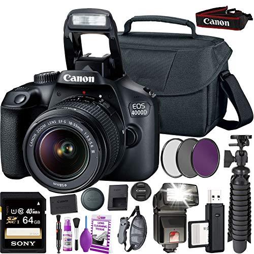Canon EOS 4000D DSLR Camera and EF-S 18-55 mm f/3.5-5.6 is III Lens (International Version) + 64GB Memory Card + Camera Bag + MiniTripod + Flash