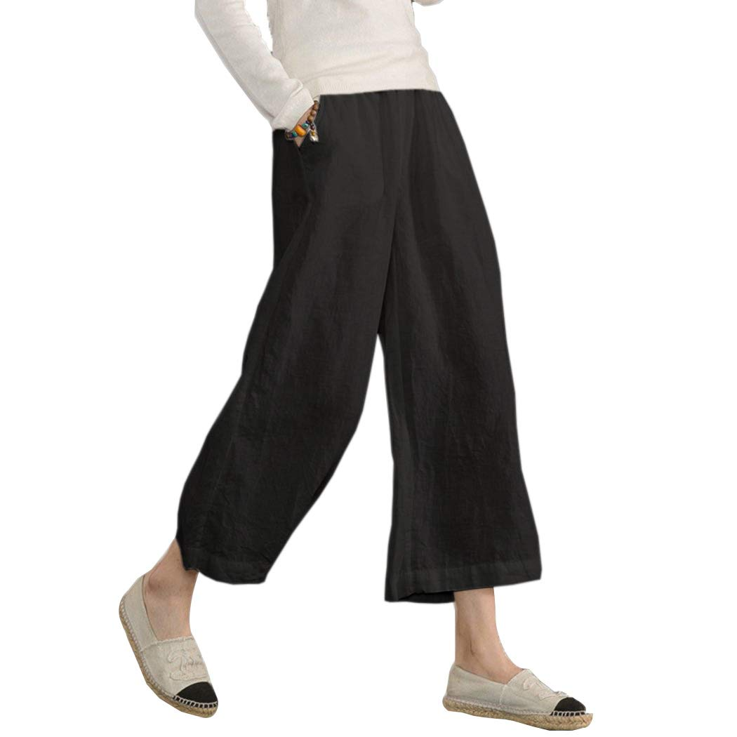 e673e940a174c Ecupper Women's Plus Size Elastic Waist Cotton Capri Pants Relaxed Loose Casual  Cropped Trousers: Amazon.co.uk: Clothing