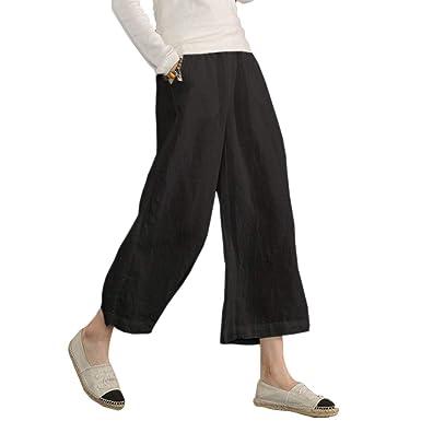 99d355e1908eb Ecupper Womens Casual Loose Plus Size Elastic Waist Cotton Trouser Cropped Wide  Leg Pants Black 18