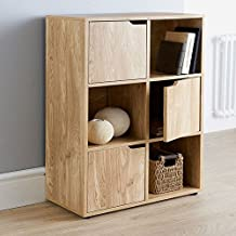 Oak Finish 6 Cube 3 Door Shelf Books CDs & DVDs Wooden Storage Display Unit by Top Home Solutions