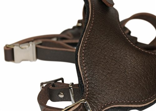 Dean and Tyler Leather Basic Nickel Hardware Dog Harness with Handle, Brown, Large - Fits Girth Size: 31-Inch to 41-Inch by Dean & Tyler (Image #2)