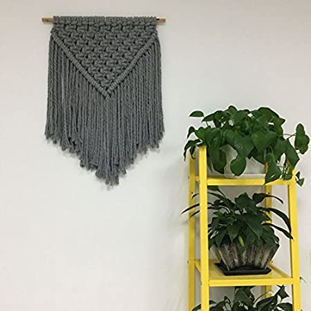 About 109 yd Handmade Decorations Natural Cotton Bohemia Macrame DIY Wall Hanging Plant Hanger Craft Making Knitting Cord Rope Gray Color Macram/é Cord Gray, 3mm x 100m