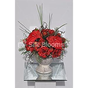 Vintage Red Anthurium, Roses & Mini Apples Stone Flowerpot Floral Arrangement 39