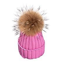 Berrygo Women's Pretty Warm Knit Fur Pom Pom Pompon Beanie Hats 2017