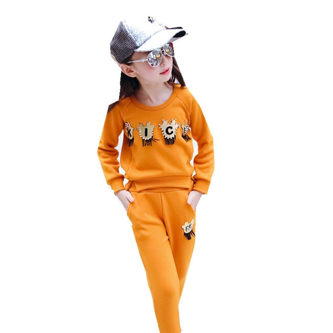 MV Autumn Winter Childrens Girls Velvet Suit Korean Thicken Baby Sports Two Pieces