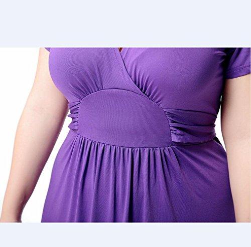 Vestido de cuello en V para mujer de verano , 4xl , purple