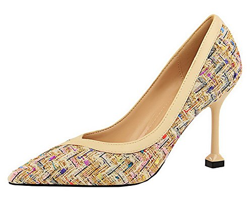 Odomolor Women's Pointed-Toe Pull-On Fabric High-Heels Pumps-Shoes Apricot TLaFYuJ